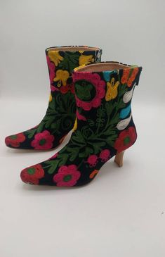 4750154a9 Ankle Women's Boots, Kitten Heel Shoes, Chelsea Booties, Wellington  Footwear, Embroidered Wedding Dress, Casual, Floral, Custome Made