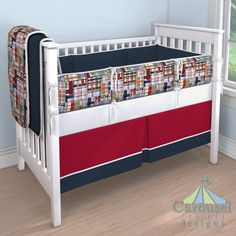 Boy Crib bedding in Solid Navy, Patchwork Plaid, Solid Antique White, Solid Red. #carouseldesigns