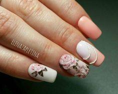 Beautiful 3d rose nails manicure Elena Zapletina