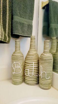 Bathroom Home Decor BATH Glass Bottles w/ by SnowflakeOriginals, $24.99