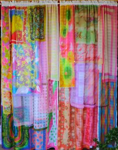 PENNY LANE Handmade Gypsy Curtains by BabylonSisters on Etsy.curtains cost way to dear.make your own with dollar store scarves or scarves from your local thrift store. Penny Lane, Scarf Curtains, Gypsy Curtains, Patchwork Curtains, Beaded Curtains, Plywood Furniture, White Sheer Curtains, Home And Deco, Bohemian Decor
