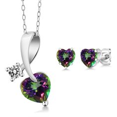 2.60 Ct Heart Shape Green Mystic Topaz and Diamond 925 Sterling Silver Pendant Earrings Set -- Read more at the image link. (This is an affiliate link) #ILoveJewelry