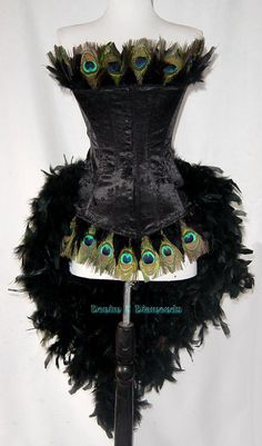 Size L-Peacock Eye Feather Brocade Showgirl Saloon Girl Moulin Burlesque Rouge Costume w/Feather Train