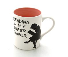 Back To school ,  Reading is my Superpower mug , Great gift for Book Lover PINK