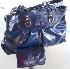 NWT Coach Ashley Patent Leather Carryall Handbag & Matching Wallet
