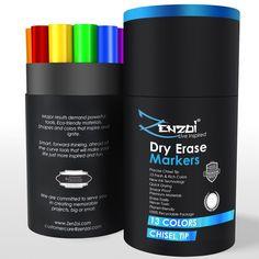 Dry Erase Markers Whiteboard Marker Pen Set - CHISEL Tip - 13 Colors