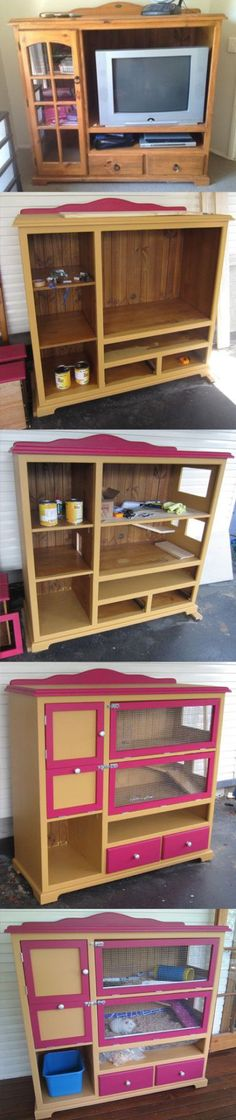 Guinea pigs - the perfect pet! Guinea pig cage from repurposed dresser.