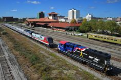 "Happy Birthday to Amtrak​. This photo from 2013 captured Amtrak train 958 as it arrived in Meridian from New Orleans with the display equipment for Meridian Railfest.  A few moves would be made shortly after this image to separate all of the engines for display on the ""City Track"", nearest the station."