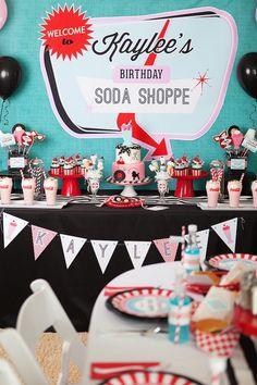 Retro Soda Shoppe Birthday Party from Kara's Party Ideas. Visit…