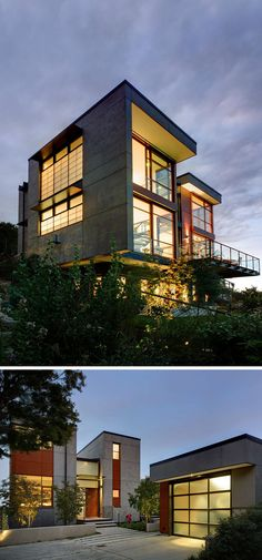 Lots of concrete on the exterior of this home give it an industrial feel while large windows take in the views and deep over hangs protect it from the rain.