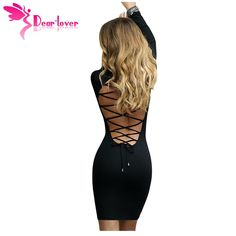DearLover sexy club short dress winter women 2016 Solid Black Lace Up Back Long Sleeve Bodycon Mini Dress vestidos curto LC22840