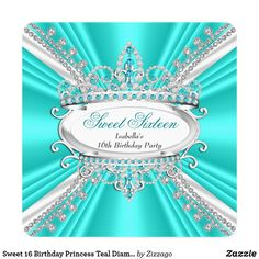 Sweet 16 Birthday Princess Teal Diamonds Tiara 2 Card Sweet 16 Birthday Princess Teal Blue White Diamonds Tiara. Sweet Sixteen 16th Birthday Party. All occasions Birthday Party for girls. Customize with your own details and age. Template for Sweet 16, 16th, Quinceanera 15th, 18th, 20th, 21st, 30th, 40th, 50th, 60th, 70th, 80th, 90, 100th. Please Note all products are decorated with images not real bows diamonds jewels, metal gold or silver.