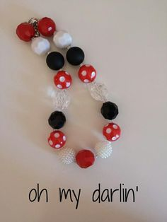 LLB Girls Chunky Necklace oh my darlin' by LittleLillyBelle, $14.00 gumball bubble gum beaded necklace bracelet pretty girly gift holiday christmas idea minnie mouse