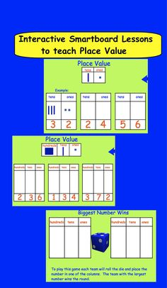 Smartboard Interactive Place Value lessons and printable worksheets.  10 pages