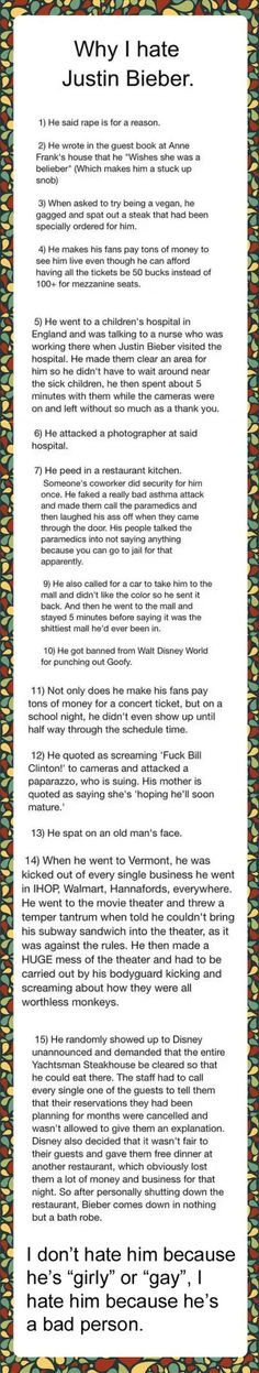 15 reasons why I hate Justin Bieber...