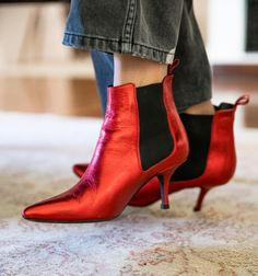 The staple bootie. Who says you can't wear red boots year round, yall. Stevie Boot in Red Metallic www.aninebing.com @aninebingofficial