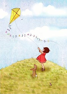 Belle and Boo Fly a Kite Art And Illustration, Belle Y Boo, Go Fly A Kite, Nursery Art, Cute Art, Sketches, Drawings, Artwork, Cards