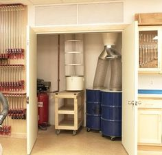 dust collection closet with the compressor system My ears could use this... [simply to box in only air compressor]