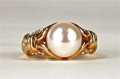 bulgari jewelry   Bulgari 18k Gold Pearl & Diamond Cocktail Ring Bulgari Rings