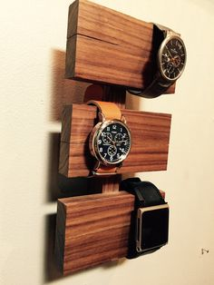 Walnut watch display by MoonCityGoods on Etsy