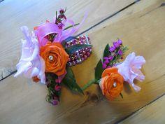 SUPER cute wrist corsage and bout. for prom. Spray roses, boronia and gladiolas. Iowa. Visit shadesofnaturefloral.com