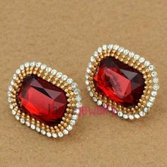 Fancy zinc alloy stud earrings decorated with red crystal & rhinestone