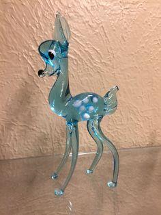 """New 5/"""" Hand Blown Art Glass Bird Figurine Sculpture Statue Blue Yellow"""