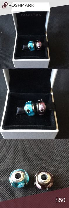 Pandora Murano Bundle Of 2 Murano Charms Authentic and stamped s925/ale bundle of 2 Pandora Murano Glass Bead ladybugs Charm Beads  1 blue 1 purple  If you want only 1 color each charm is $30 You get a better deal just purchasing both of them The Pandora box is not included only the charms NO TRADES  Bundle to save more on shipping Pandora Jewelry Bracelets