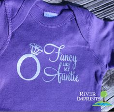 New Aunt Gifts for Her from the Baby Girl:  Fancy Like My Auntie with Diamond Ring Jewelry in Silver Foil Baby Onesie Bodysuit by River Imprints @ Etsy
