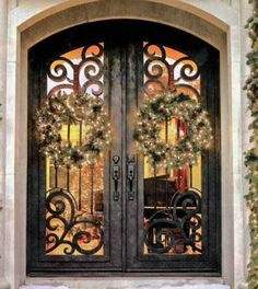Excellent Fiberglass Front Doors With Glass And Hardwood: Mediterranean Entry With Steel Doors Make A Buffalo Forge Wrought Iron Entry Door The Centerpiece Of Home ~ buymyshitpile.com Doors Inspiration