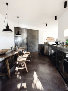 black industrial kitchen wooden table and bench ☆