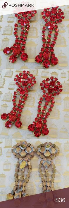 Gorgeous Vintage Czech glass rhinestone earrings Vintage rhinestone earrings from Jablonec Czechoslovakia.  Stunning vivid red Czech glass New Old Stock  Pierced  Excellent vintage condition  Signed Bijoux MG Bijoux M.G Jewelry Earrings