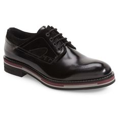 Men's Kenneth Cole New York Think Out Loud Plain Toe Derby ($97) ❤ liked on Polyvore featuring men's fashion, men's shoes, men's oxfords, black, mens black derby shoes, mens leather shoes, kenneth cole mens shoes, mens black leather shoes and mens derby shoes