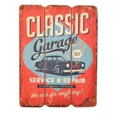 Cartel retro publicidad años 50 http://honeypoppies.com/cuadros-y-carteles/284-cartel-madera-retro-classsic-garage.html