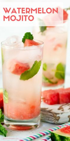 We combined two of our summer loves – watermelon and mojitos – to make these easy, refreshing Watermelon Mojito Cocktails! Low Calorie Alcoholic Drinks, Healthy Cocktails, Fun Cocktails, Easy To Make Cocktails, Alcoholic Beverages, Batch Cocktail Recipe, Best Cocktail Recipes, Cocktail Ideas, Watermelon Cocktail