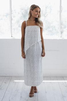 Valencia Dress in White Spot