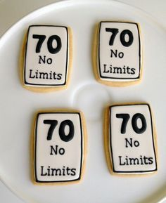 Cute speed limit sign cookies for a milestone 70th birthday party. 65th Birthday, 75th Birthday Parties, Adult Birthday Party, Birthday Party Favors, 70th Birthday Party Ideas For Mom, 70th Birthday Decorations, Special Birthday, Birthday Cookies, Speed Limit