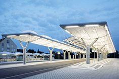Bus station, Königsbrunn – PVC-coated polyester membrane roof - {{page::rootPageTitle}} - Temme Obermeier   Experts for Membrane Building