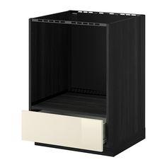 METOD/FÖRVARA Alsószekrény sütőhöz, fiókkal - fa hat. fekete, Ringhult mfényű krémszínű - IKEA
