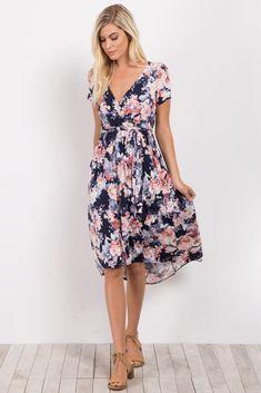 Navy Blue Rose Floral Hi-Low Wrap Dress