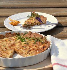 Eierschwammerl-Tarte, einfaches Familienessen Salmon Burgers, Quiche, Macaroni And Cheese, Veggies, Meat, Chicken, Breakfast, Ethnic Recipes, Food