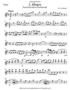 Eine Kleine Nachtmusik (I. Allegro) by Mozart. Free sheet music for violin. Visit toplayalong.com and get access to hundreds of scores for violin with backing tracks to playalong.