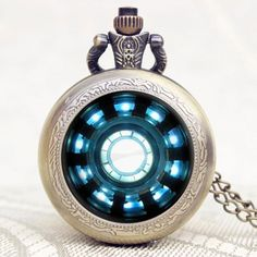 Tony Stark Iron Man Arc Reactor Quartz Pocket Watch
