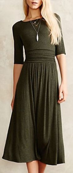 Olive is one of my fav Colours this is a super cute fitted dress can dress it up or down