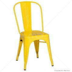 Vintage Metal Cafe Chair - 'Tolix' - Milan Direct - $109! YELLOW, RED, BLUE, BLACK, WHITE, SILVER