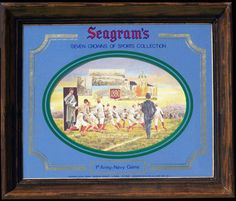 Seagram's Seven Crowns of Sports Collection 1st Army-Navy Football Game Vintage Bar Mirror