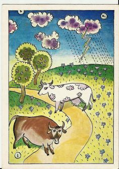 Cows - Vintage Russian Postcard by LucyMarket on Etsy, $2.50