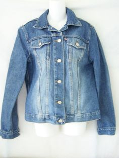 Anne Klein #sandblasted & distressed #blue #cotton #denim full length button down front closure long sleeve #jean #jacket with dual front chest #pocket #pockets & collar in #womens #ladies #misses size medium/M, excellent used condition http://www.ebay.com/itm/ANNE-KLEIN-BLUE-DENIM-BUTTON-FRONT-LONG-SLEEVE-JEAN-JACKET-WOMENS-SIZE-MEDIUM-M-/111040408857?pt=US_CSA_WC_Outerwear&hash=item19da862d19