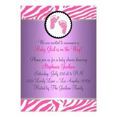 Hot Pink Baby Shower Custom Invites