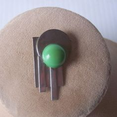 Vintage BAKELITE and Chrome Dress Clip, Art Deco Motif